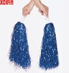 Pair Blue Metallic Foil Cheerleader Pom Poms OT3-254