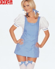 Dorothy Wizard Of OZ Adult Sexy Fantasy Costume Gingham Plaid Mini Dress LA 8927