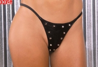Leather g-string With studs EM L9182
