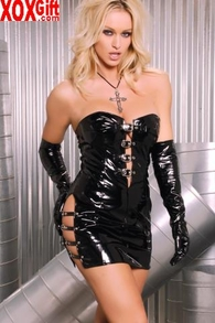 Strapless Vinyl Mini Dress With Buckle Detail In The Front & On The Sides. EM V8369