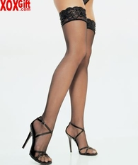 Lycra Sheer Thigh High With Beaded Sequin Trim On The Top LA 1015