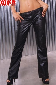 Leather pants With zipper front and snap, shown With L4133 EM L9120