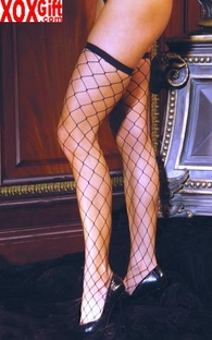 Plus Size Big Diamond Fishnet Thigh High Stockings  EM 1739Q