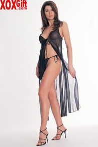 Tie Front Sheer Gown With Tie Thong LA 8534