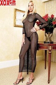 2 Pc Fishnet Long Sleeves Dress With G-String LA 8292