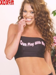 "Women's Novelty Tube Top With ""Cum Play With Me"" Print EM 5289"