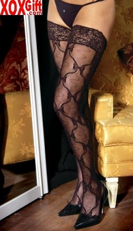 Womens Lacy Sheer Thigh Highs With Lace Tops EM 1729