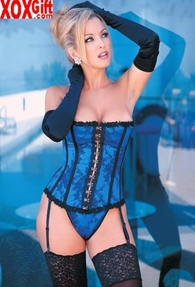 Beautiful Satin Strapless Corset With G-String Panty 8997