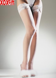 Sheer Lace Top Thigh High Stockings With Satin Bow LA 1912