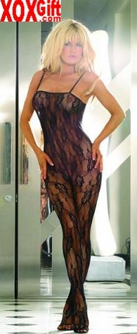 Plus Size Crotchless Bodystocking In Rose Flowered Lace Pattern EM 8743Q