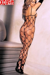 Black Big Open Diamond Pattern Industrial Fishnet Bodystocking. R 90034