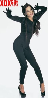 Catsuit With Fingers & Zipper Back LA 8884