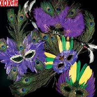 Deluxe Mardi Gras Feather Masks OT25-536