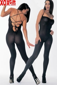 Opaque Black Lace-Up Back Bodystocking LA 8787