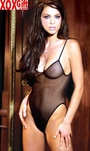 Womens Black Fishnet Teddie With Snap Crotch EM 1439