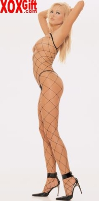 Crotchless Bodystocking In Black Fence Net With Spaghetti Straps LA 8841