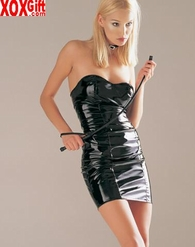 Vinyl PVC Tube Mini Dress With Lace-Up Back Sexy Lingerie & Apparel LA V5169