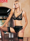 Open Bust Bra With Full Back Panty & Garter Belt LA 86009