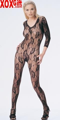 Romantic Rose Lace Long Sleeves Open Crotch Bodystocking LA 8750