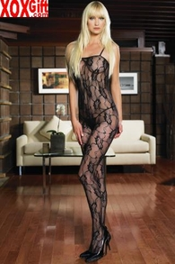 Plus Size Open Crotch Romantic Rose Lace Bodystocking LA 8743Q