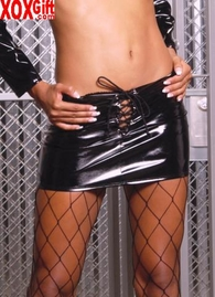 Lace up vinyl mini skirt, shown With V4130 EM V6116