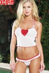 Mesh Ruffle Halter Cami & Thong Set With Beaded Applique LA 81008