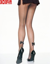 Black Industrial Fishnet Pantyhose With Backseam & Satin Bow Tie Ankle Accent LA 9033