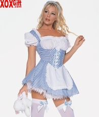 Mary Blue Gingham Peasant Dress LA 8949