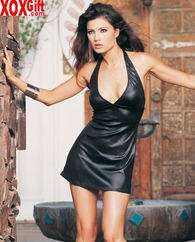 Wet Look Slinky Halter Mini Dress LA 8271