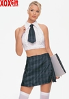 Schoolgirl Fantasy Costume!  Green Plaid Skirt, Tie & Shirt LA 8960