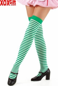 Opaque Striped Thigh High Stockings LA 6005