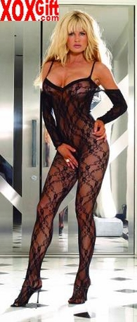 Floral lace open crotch body stocking With attached sleeves EM 8046