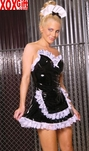 Vinyl maid bandeau dress With contrast lace trim, apron and hat EM V9219