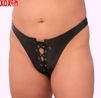 Plus Size Leather Lace Up Thong AL 3-105X