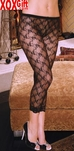 Women's Low Rise Black Lace Leggings EM 1764