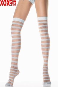 Sheer & Opaque Striped Thigh High Stockings LA 1005