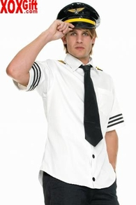 Men's Airline Pilot Captain's Costume For Fetish Airlines LA 83263
