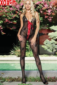 Black Lace Crotchless Halter Bodystocking With Red Ribbon Front LA 89011