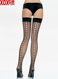 Lycra Crocheted Thigh High Stockings With Open Keyholed Backseam LA 9039
