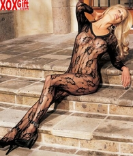 Crotchless Lace Longsleeve Bodystocking R 0003
