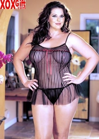 Plus Size Sheer On Striped Net Chemise 2 Pc Set R 6939Q