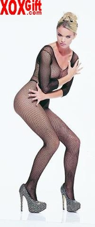 Seamless fishnet long sleeve open crotch body stocking EM 8360