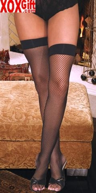 Plus Size Women's Stay Up Fishnet Thigh High Stockings With Silicone Band EM 1748Q