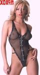 Leather & Fishnet Teddy AL 4-803