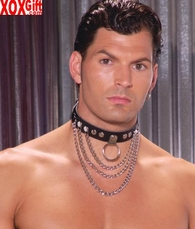 Leather collar With chains and O ring EM L9149