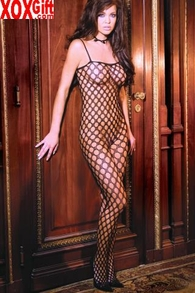 Plus Size Women's Black Seamless Crocheted Bodystocking EM 1614Q