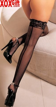 Black Fishnet Thigh High Stockings With Stay-Up Silicone Band R 0013