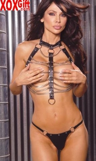 2pc Leather and chain vest With ring detail and matching thong With nail heads EM L9118