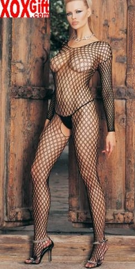 Seamless Lycra Ringo Hole Long Sleeves Open Crotch Bodystocking LA 8748