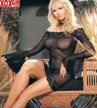 Mesh Off The Shoulder Minidress With Long Bell Sleeves & G-String LA 86003